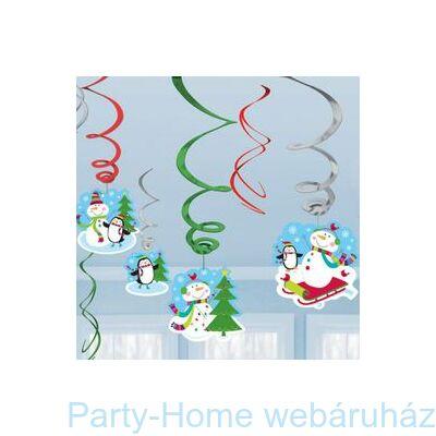Joyful Snowman Spirális Függő Dekoráció Karácsonyra