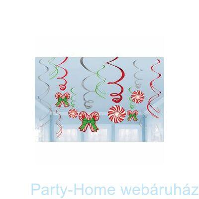 Karácsonyi Nyalóka Mintás Függő Spirális Dekoráció