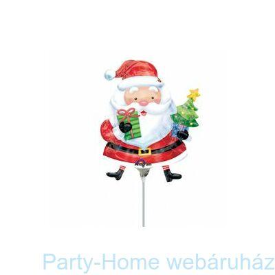 Mikulás Ajándékokkal Santa with Tree Mini Shape Pálcás Fólia Lufi
