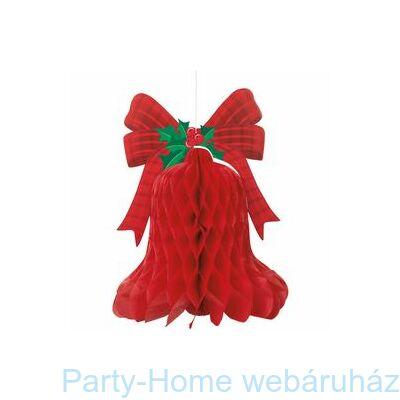 Nagy Piros Karácsonyi Harang Méhsejtpapír Függő Dekoráció
