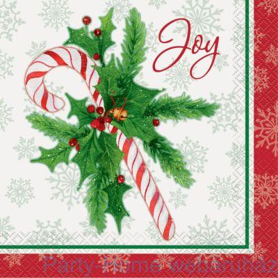 Candy Cane - Cukorpálca Karácsonyi Szalvéta - 33 cm x 33 cm, 16 db-os