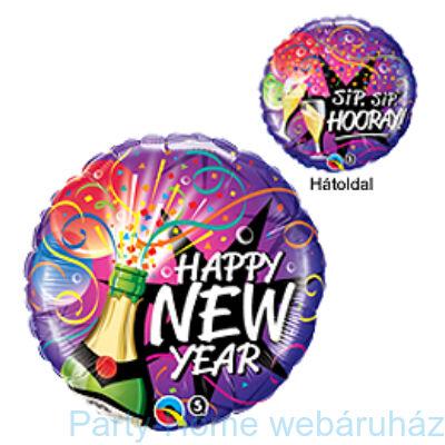 Pezsgősüveges New Year Sip, Sip, Hooray Szilveszteri Fólia Lufi