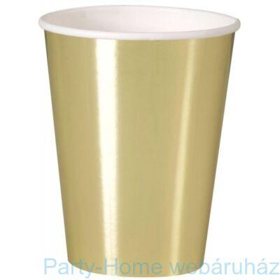 Fényes Arany Party Pohár 355 ml 8 db-os