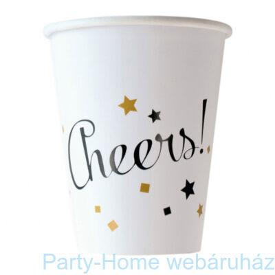 Happy New Year Arany-Fekete Konfettis Party Pohár - 250 ml, 8 db-os