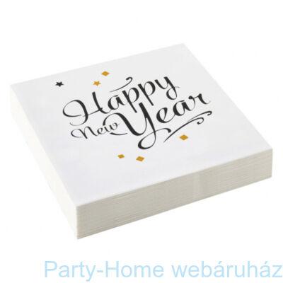 Happy New Year Arany-Fekete Konfettis Party Szalvéta - 33 cm x 33 cm-es, 20 db-os