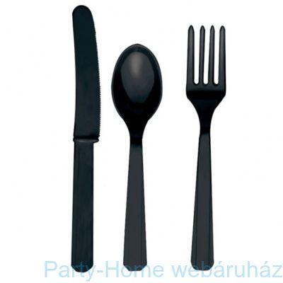 Black Műanyag Parti Evőeszköz Válogatás - 24 db-os