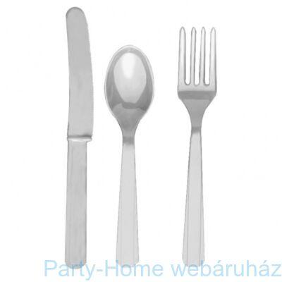 Silver Műanyag Parti Evőeszköz Válogatás - 24 db-os