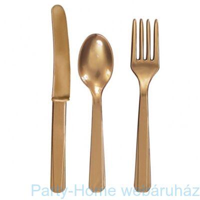 Gold Műanyag Parti Evőeszköz Válogatás - 24 db-os