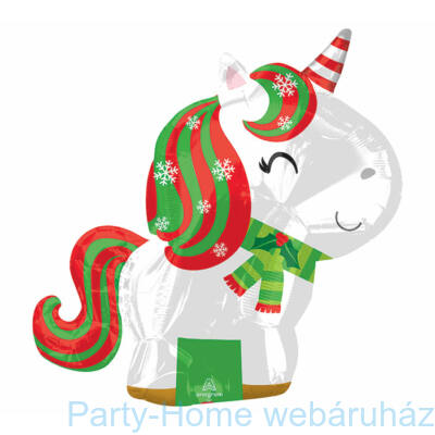 Unicorn Karácsonyi - Christmas Junior Shape Fólia Lufi