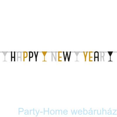 Arany - Ezüst Happy New Year Betűfüzér 1,65 m