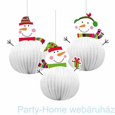 Joyful Snowman - Hóemberes Karácsonyi 3D Méhsejt Lampion Függő Dekoráció - 20 cm-es, 3 db-os
