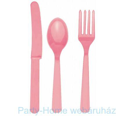 Halvány Rózsaszín Műanyag Parti Evőeszköz Válogatás - 24 db-os