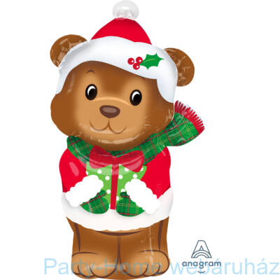 Karácsonyi Maci - Christmas Bear Mini Shape Pálcás Fólia Lufi