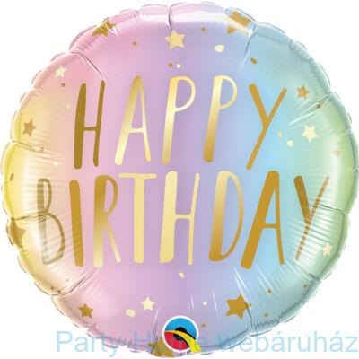 18 inch-es Happy Birthday Pastel Ombre & Stars Szülinapi Fólia Lufi