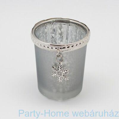 Üveg mécsestartó hópihe dekorral