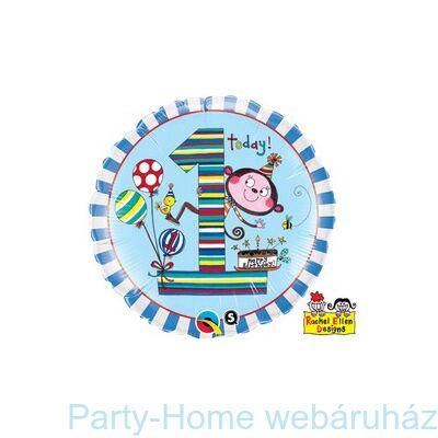 1-es Számos Monkey Stripes Szülinapi Fólia Lufi