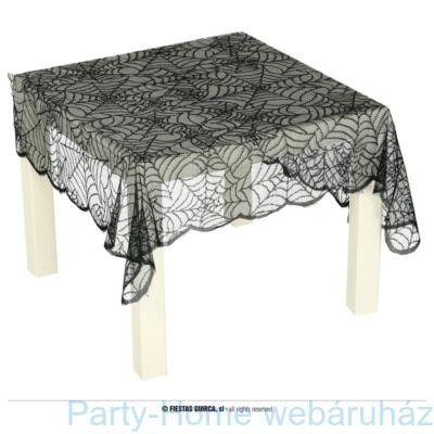 Ezüst pókhálós fekete-asztalterítő