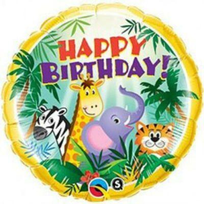 18 inch-es Dzsungel Állatai - Birthday Jungle Friends Szülinapi Fólia Lufi